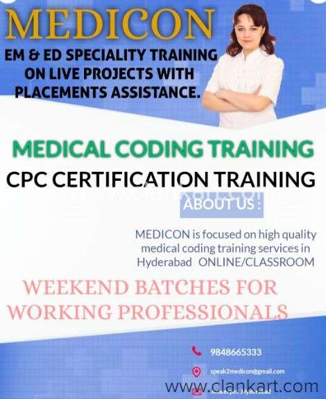 coding certification cpc medical training institute hyderabad clankart